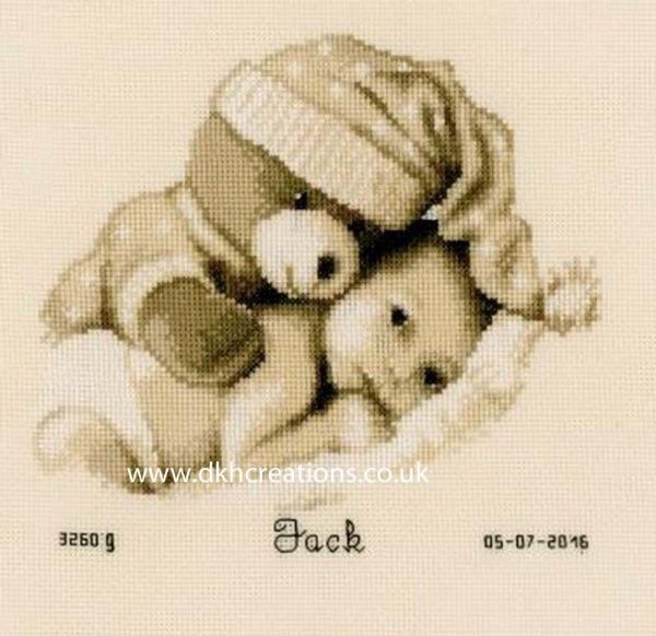 Baby And Teddy Sepia Birth Sampler Cross Stitch Kit